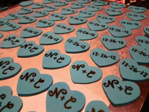 Gumpaste hearts to top the cupcakes