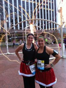 Santa skirts in 70* weather...Christmas in Texas! 26.2 miles, check,