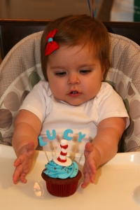 Lucy's first cupcake- her first taste of sugar EVER