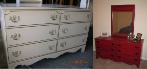 I've also been busy repainting furniture...channeling a lot of crafty over here