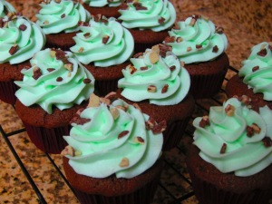 Mint Chocolate Cupcakes with Andes Mint pieces