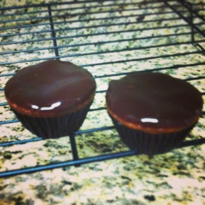 Paleo Almond Butter Cupcakes dipped in  ganache