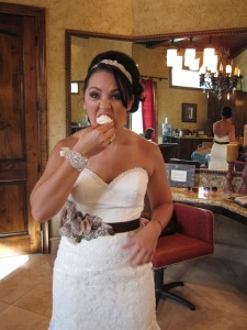 She stole a cupcake before the ceremony even started.